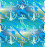 De blauwgroene achtergrond van het de Golfpatroon van het Pastelkleuranker Royalty-vrije Stock Afbeelding