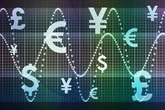 De blauwgroene Financiële Globale Munten van de Sector Stock Foto's