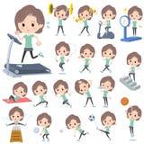 De blauwgroene Sporten & de oefening van de slijtage Middenvrouw royalty-vrije illustratie