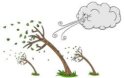 De Blazende Wind van Windy Day Trees en van de Wolk royalty-vrije illustratie