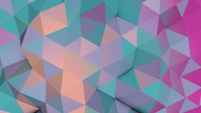 De bleke 3D kleuren lage poly chaotische golvende oppervlakte geeft terug Stock Foto