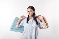 De blije mooie pakketten van de vrouwenholding Royalty-vrije Stock Foto