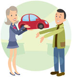 De blije vrouw geeft man auto Royalty-vrije Stock Afbeelding