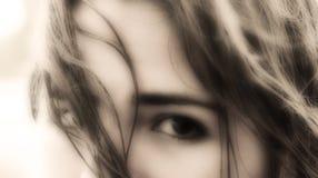 De blik in haar ogen Stock Foto