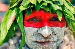 De blik van de vrouw in Papoea-Nieuw-Guinea Stock Foto