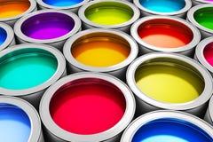 De blikken van de kleurenverf Stock Afbeelding