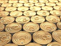 De blikken van het voedseltin. Kruidenierswinkelsachtergrond. Stock Foto