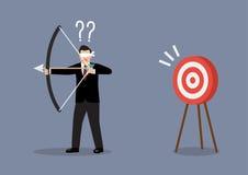 De blinddoekzakenman zoekt doel in verkeerde richting vector illustratie