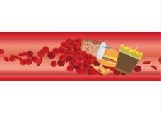 De bloedcel in schip wordt geblokkeerd door hoogte - vet voedsel vector illustratie