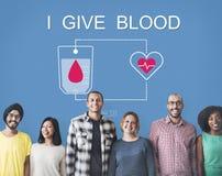 De bloeddonatie geeft het Concept van de het Levenstransfusie stock fotografie