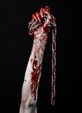 De bloedige keten van de handholding, bloedige ketting, Halloween-thema, zwarte geïsoleerde achtergrond, Royalty-vrije Stock Foto
