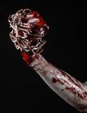 De bloedige keten van de handholding, bloedige ketting, Halloween-thema, zwarte geïsoleerde achtergrond, Royalty-vrije Stock Fotografie