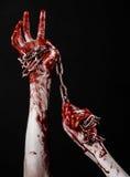 De bloedige keten van de handholding, bloedige ketting, Halloween-thema, zwarte geïsoleerde achtergrond, Royalty-vrije Stock Afbeelding