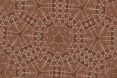 De bloem bruin met lijn als naadloos geomatry patroon Stock Fotografie