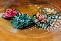 De bloem die van de Colorfulllotusbloem op water en houten achtergrond, kuuroordconcept drijven stock foto