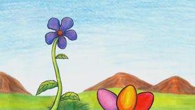 De bloem, een vliegende bij en drie kleurden paaseieren in grasanimatie 2019 MP4 stock video