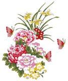 De bloem en de vlinder van de pioen vector illustratie