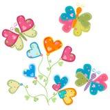 De bloem en de vlinders van de liefde Stock Afbeelding