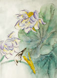 De bloem en de vogel van Lotus vector illustratie