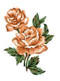 De bloem oranje nam bruin van de waterverfgouache Kleurrijke het conceptenregelingen van boeket groene bladeren voor groetkaart o vector illustratie