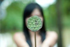 De bloem van de de holdingslotusbloem van de vrouw Stock Fotografie