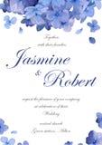 De bloem van de huwelijksuitnodiging nodigt kaartontwerp met blauw purper GA uit royalty-vrije illustratie