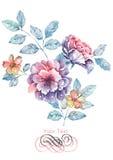 De bloem van de waterverfillustratie op eenvoudige achtergrond Stock Foto's
