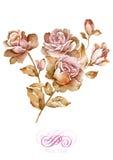 De bloem van de waterverfillustratie op eenvoudige achtergrond Royalty-vrije Stock Afbeeldingen