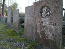 de bloem van de de 19de Eeuwgrafsteen woth ebossed stock afbeelding