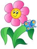 De bloem van het beeldverhaal met vlinder Stock Foto