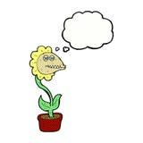 de bloem van het beeldverhaalmonster met gedachte bel Royalty-vrije Stock Foto
