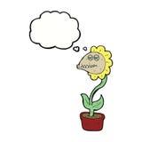 de bloem van het beeldverhaalmonster met gedachte bel Royalty-vrije Stock Fotografie