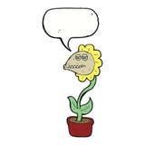 de bloem van het beeldverhaalmonster met toespraakbel Royalty-vrije Stock Fotografie