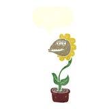 de bloem van het beeldverhaalmonster met toespraakbel Royalty-vrije Stock Afbeeldingen