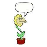 de bloem van het beeldverhaalmonster met toespraakbel Stock Foto