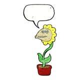 de bloem van het beeldverhaalmonster met toespraakbel Royalty-vrije Stock Afbeelding