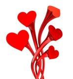 De bloem van het hart - liefdeconcept. Geïsoleerdd op wit. Stock Afbeeldingen