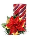 De bloem van Kerstmis met kaars Stock Afbeelding
