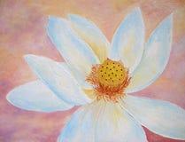 De bloem van Lotus in wit en de hand van de perzikolie het schilderen. Stock Foto's