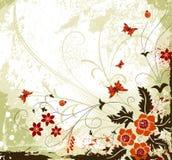 De bloemachtergrond van Grunge Stock Afbeelding