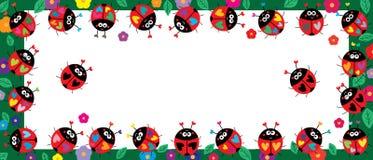 De bloembanner van het lieveheersbeestje kleurrijke blad vector illustratie