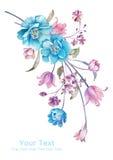 De bloemboeket van de waterverfillustratie op eenvoudige achtergrond Royalty-vrije Stock Foto