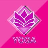 De bloemembleem van de yogalotusbloem Stock Foto