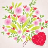 De bloemen achtergrond van de Dag van de Valentijnskaart ` s Royalty-vrije Stock Fotografie