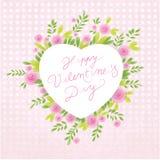 De bloemen achtergrond van de Dag van de Valentijnskaart ` s Stock Foto