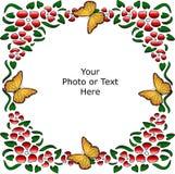 De bloemen Achtergrond van de Grens met Vlinder Stock Afbeelding