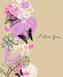 De bloemen achtergrond van de Valentijnskaart vector illustratie