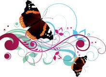 De bloemen Achtergrond van Vlinders Stock Foto's