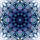 De bloemen blauwe turkooise purpere zwarte van het cirkelornament Royalty-vrije Stock Afbeeldingen