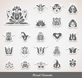 De bloemen Elementen van de Decoratie Stock Afbeeldingen